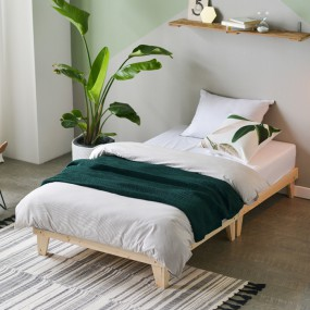 마루형 원목 침대 SS (포켓라텍스매트) OT065 이미지