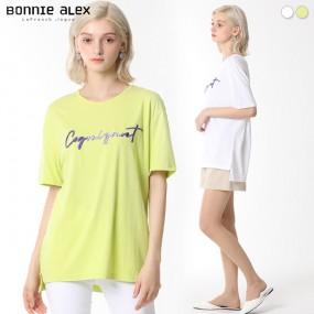 [보니알렉스] 멜로디컬 레터링 코튼 티셔츠 이미지