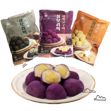[영광떡공방] 찰보리떡 400g 3종 세트 (흑임자/자색고구마/콩고물) 이미지