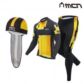 MCN 자전거의류 3종세트 테리 옐로우 긴팔+바지+두건 이미지