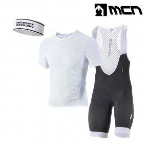 MCN 헤어밴드+반팔 이너웨어+빕숏 화이트 자전거의류세트 이미지