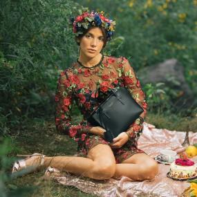 [이나이나 뉴욕] 100% 프리미엄 가죽  카프카 미니 토트 - 블랙/그린 이미지