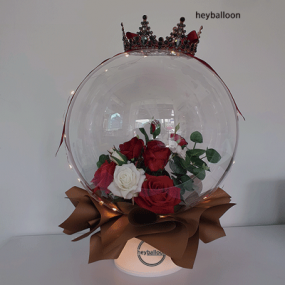 [헤이벌룬] 블랙티아라 장미꽃풍선 LED스탠드 이미지