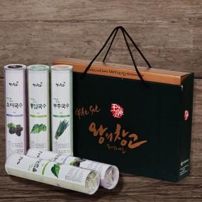 [왕의창고] 건강한 맛 친환경 뽕잎+오디+부추로 만든 국수면세트 2kg(뽕입국수2+오디국수2+부추국수1/각 400g) 이미지