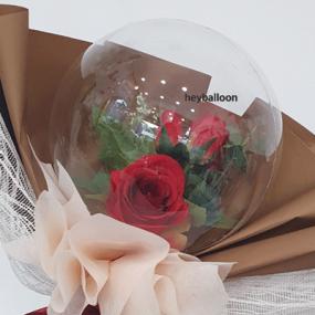 [헤이벌룬] 장미 미니꽃다발풍선 스탠드 이미지