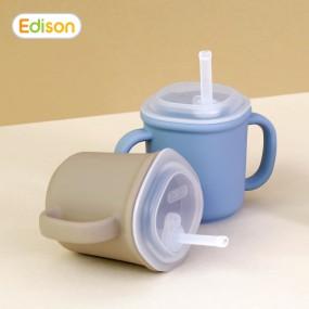 [에디슨]유아 아기 흘림방지 실리콘 양손 빨대컵 이미지