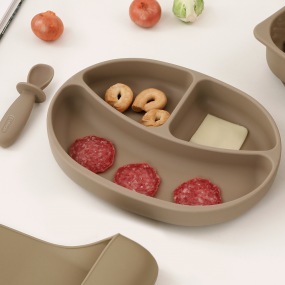 [에디슨]자기주도 아기 이유식 실리콘 흡착식판 (스푼/뚜껑 포함) 이미지