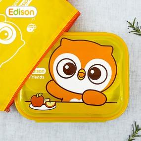 [에디슨]프렌즈 휴대용 유아식기 스텐식판 도시락 가방 이미지