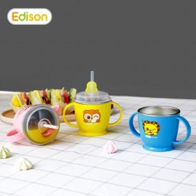 [에디슨]유아 아기 흘림방지 스텐 양손 빨대컵 물컵 이미지