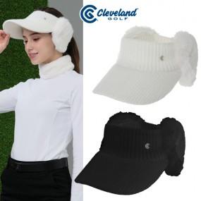 [클리브랜드골프] FUR 트리밍 귀마개 여성 니트 썬캡 바이저/골프모자_CGKWCP1902 이미지