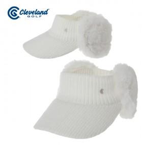 [클리브랜드골프] FUR 트리밍 귀마개 여성 니트 썬캡 바이저/골프모자_CGKWCP1902WH 이미지
