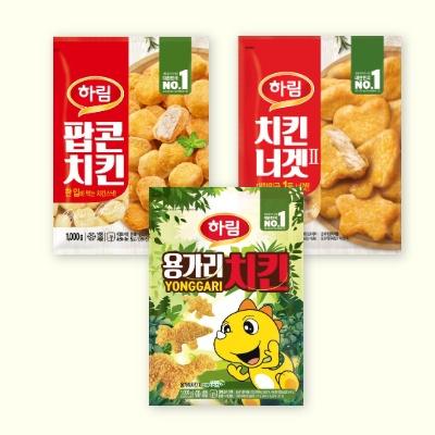 [하림] 치킨너겟(II) 1kg + 용가리치킨 1kg + 팝콘치킨 1kg (무료배송)