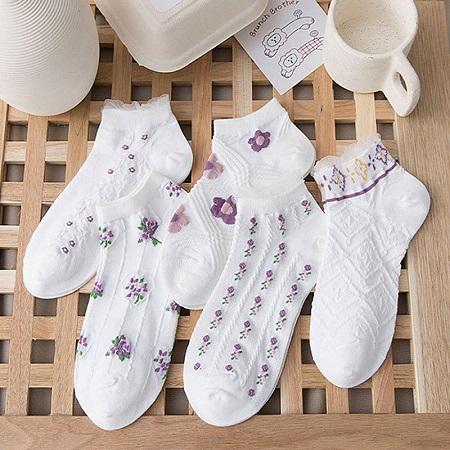 꽃무늬 포인트양말 5켤레 세트 (무료배송) 이미지